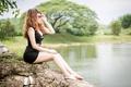 Картинка девушка, озеро, азиатка