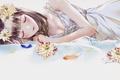Картинка девушка, цветы, сон, венок, лежа