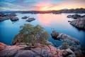 Картинка закат, озеро, камни, США, кусты, Arizona, Prescott