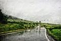 Картинка дорога, стекло, капли, холм, линии электропередачи, дождливая, серые облака