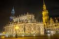 Картинка ночь, огни, Германия, Дрезден, площадь