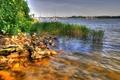 Картинка небо, деревья, природа, река, камни, яхты, лодки
