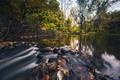Картинка листья, деревья, озеро, отражение, камни, водопад, зеркало