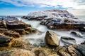 Картинка лед, море, небо, облака, камни, скалы
