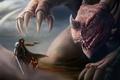 Картинка пистолет, женщина, дракон, меч, ковбой