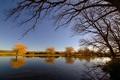 Картинка осень, небо, деревья, река