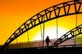 Картинка закат, силуэт, мост, небо