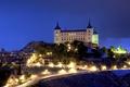 Картинка дорога, ночь, огни, дома, фонари, Испания, дворец