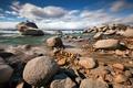 Картинка пейзаж, озеро, камни, lake Tahoe, Bonsai Rock
