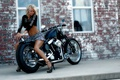 Картинка megan, model, harley davidson, woman, blonde, girl, legs