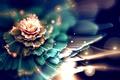 Картинка цветок, абстракция, сияние, размытость, фрактал, боке