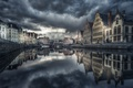 Картинка отражение, канал, Бельгия, сумерки