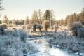 Картинка зима, природа, река