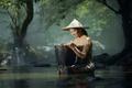 Картинка корзина, девушка, река