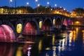 Картинка ночь, мост, огни, река, Франция, фонари, набережная