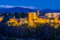 Картинка Гранада, дворец, ночь, башня, крепость, огни, деревья
