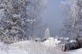 Картинка зима, иней, трава, снег, деревья, туман, домики