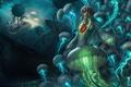 Картинка море, девушка, корабли, арт, медузы, под водой, League of Legends