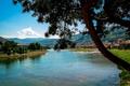 Картинка деревья, горы, город, река, дома, Босния и Герцеговина, Gorazde