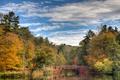 Картинка осень, небо, облака, деревья, мост, озеро, отражение