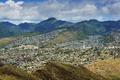 Картинка горы, дома, долина, Гавайи, США, урбанизация