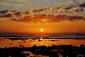 Картинка волны, пляж, облака, восход, камень, горизонт, риф