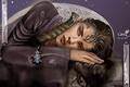 Картинка арт, кулон, лежа, украшения, эльфийка