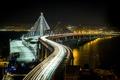 Картинка ночь, мост, огни, залив, сша, San Francisco