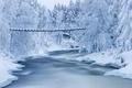 Картинка зима, снег, река, мостик