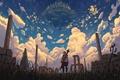 Картинка небо, девушка, облака, город, драконы, аниме, арт