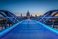 Картинка небо, закат, англия, лондон, собор, мост тысячелетия