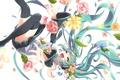 Картинка девушка, радость, цветы, аниме, арт, микрофон, vocaloid