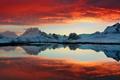 Картинка красный, Lofoten, снег, горы, Norway, озеро, Норвегия