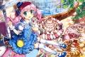 Картинка кошки, конфеты, девочка, сладости, торт, розовые волосы, fujima takuya
