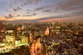 Картинка огни, дома, небоскребы, Токио, сумерки, мегаполис