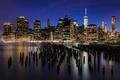 Картинка город, огни, река, здания, Нью-Йорк, небоскребы, вечер
