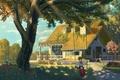 Картинка кот, девушка, деревья, цветы, природа, дом, качели