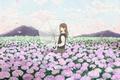 Картинка поле, девушка, цветы, зонтик, зонт, лепестки, арт