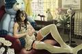 Картинка девушка, комната, кресло, сидит, art, imaoka, плюшевая игрушка
