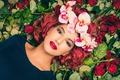 Картинка взгляд, цветы, лицо, фон, макияж, Chaima