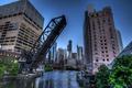 Картинка мост, city, река, здания, вечер, USA, америка