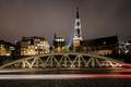 Картинка ночь, мост, огни, дома, Германия, церковь, Гамбур