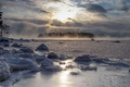Картинка зима, туман, озеро, утро