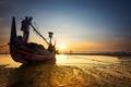 Картинка пейзаж, закат, лодка