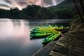 Картинка озеро, лодки, вечер