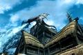 Картинка лед, крыша, горы, дом, дракон, The Elder Scrolls V Skyrim