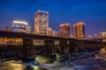 Картинка США, река, ночь, Richmond, огни, дома, мост