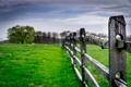 Картинка поле, небо, трава, облака, деревья, забор