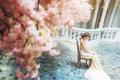 Картинка девушка, платье, азиатка, сидит, невеста