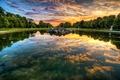 Картинка облака, деревья, закат, озеро, отражение